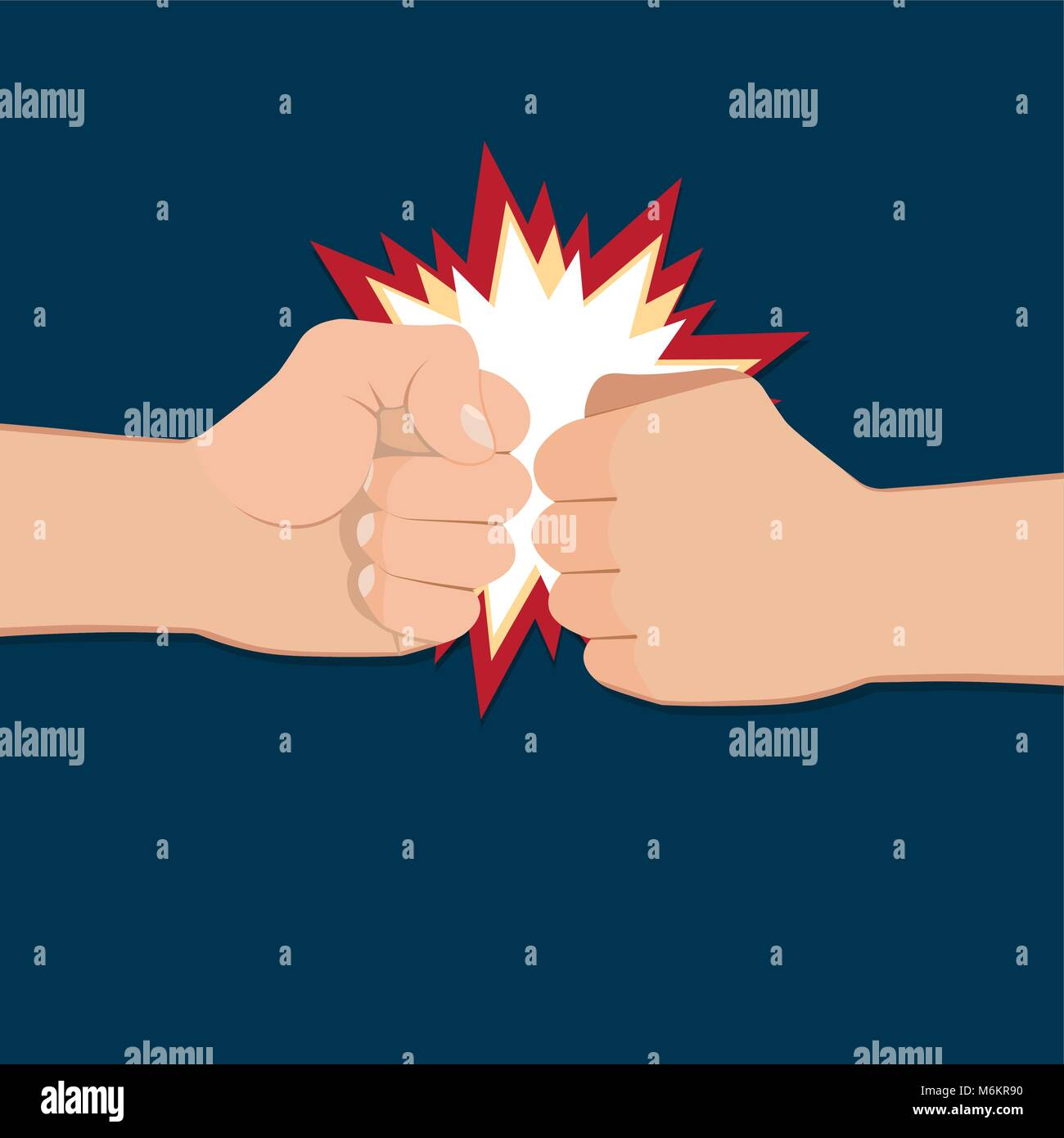 Two clenched fists in air punching. Vector illustration with two hands. Concept of aggression and violence. War - Stock Image