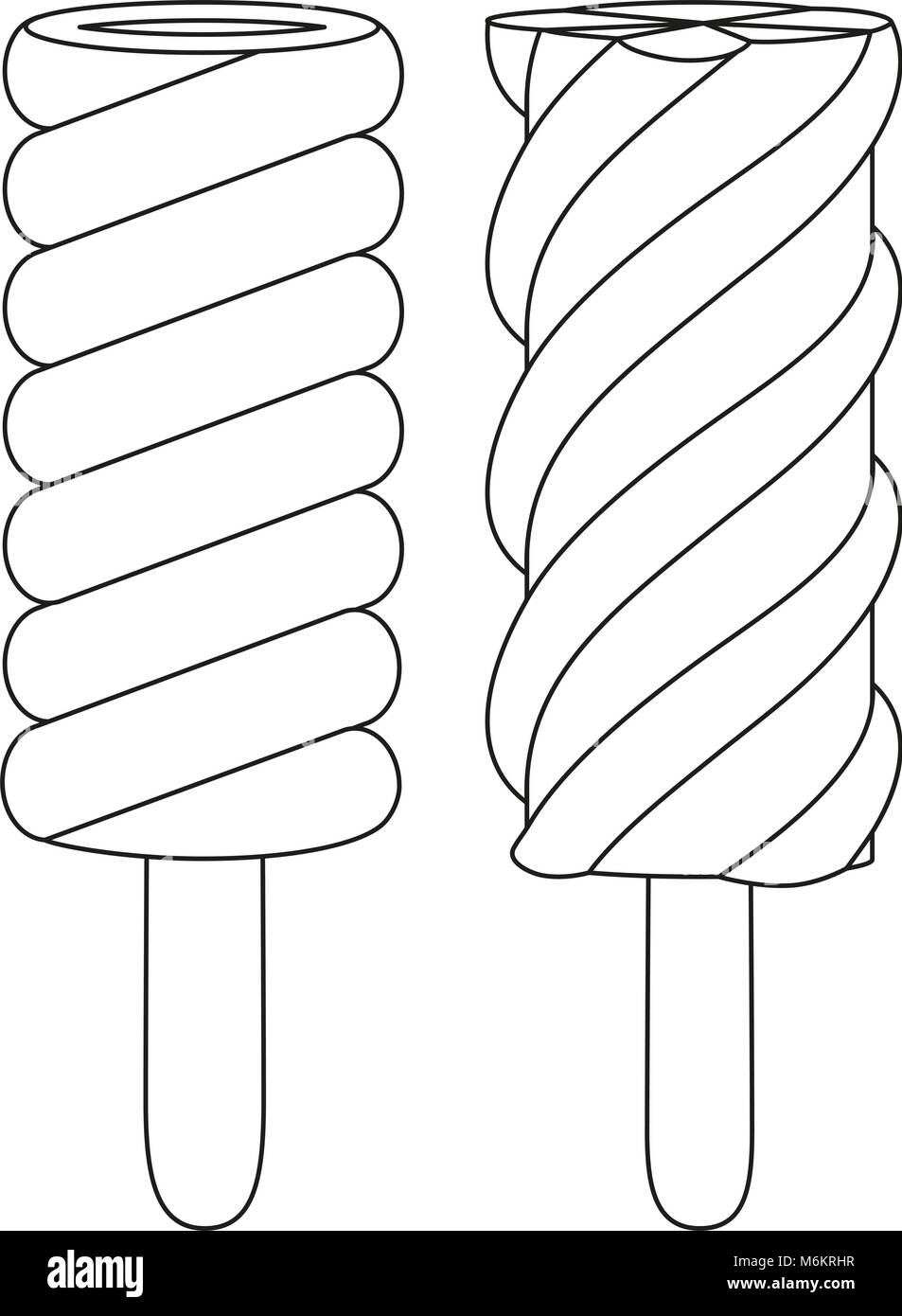 Fruit Ice Cream Popsicle Line Art Black And White Icon Set Coloring Book Page For Adults Kids Summer Fast Food Vector Illustration Gift Card