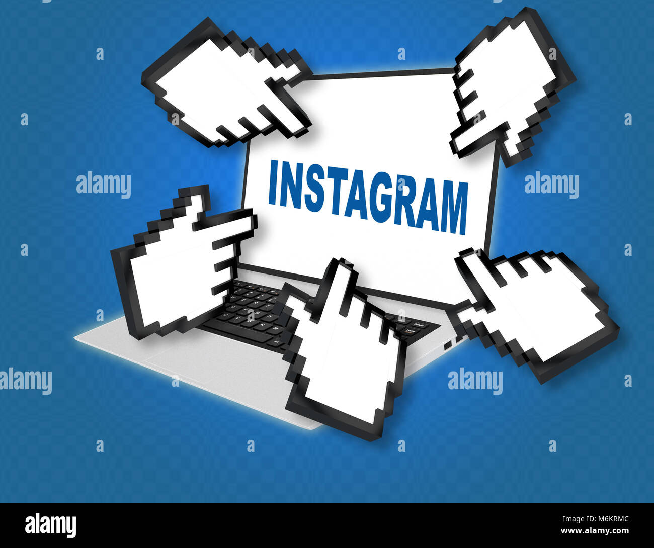 3D illustration of INSTAGRAM script with pointing hand icons