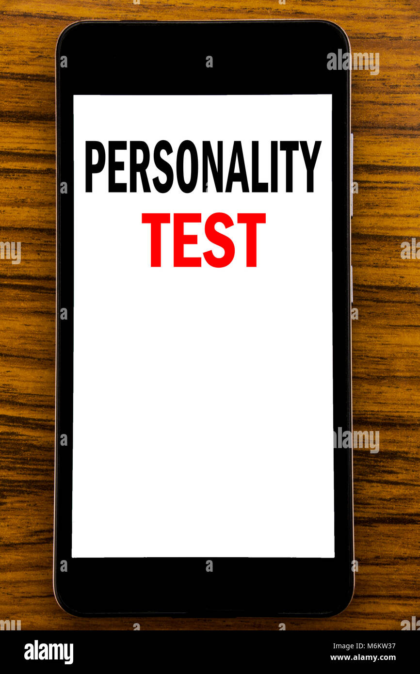 Handwriting Announcement text showing Personality Test. Business concept for Attitude Assessment Written on mobile - Stock Image
