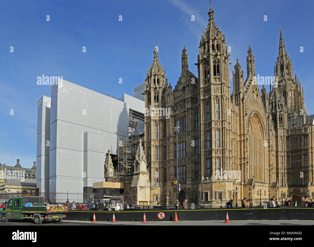 Scaffolding spans St Stephens Hall, part of the Palace of Westminster, and Houses of Parliament, London, UK. Part Stock Photo