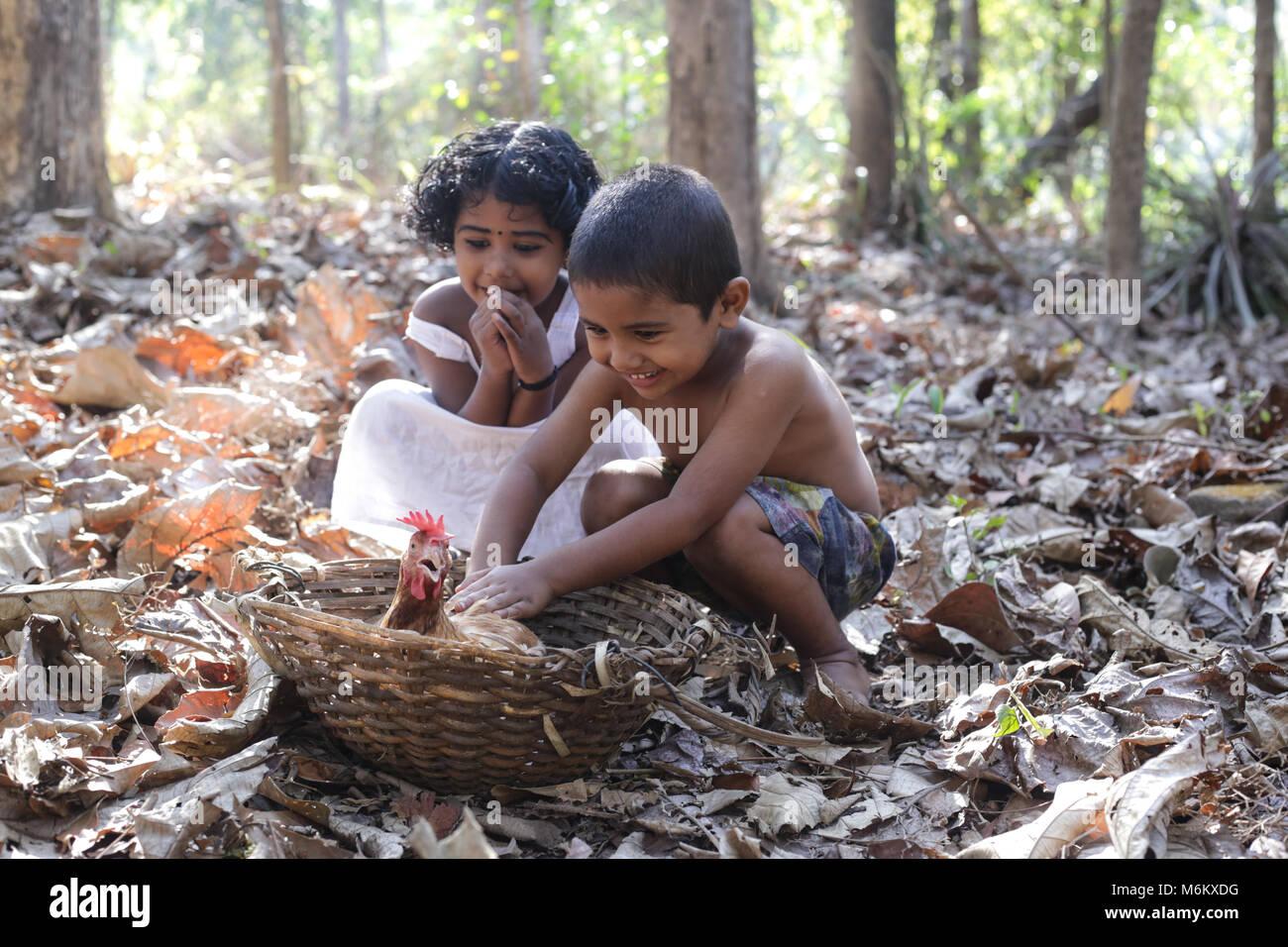 Kerala village childhood stock image