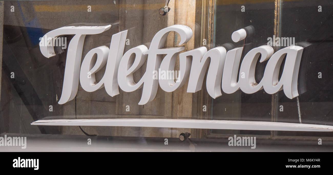 Telefonica logo - the phone company in Spain - MADRID / SPAIN - FEBRUAR 21, 2018 - Stock Image