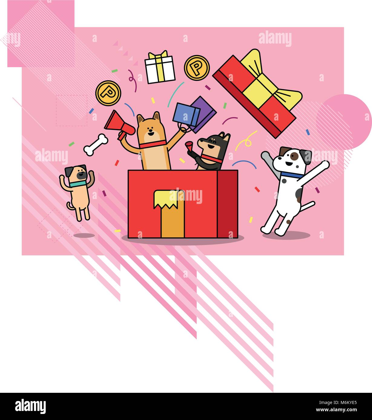 Illustration - animals shopping concept vector. various payment method of e-commerce, coupon and card.  004 Stock Vector