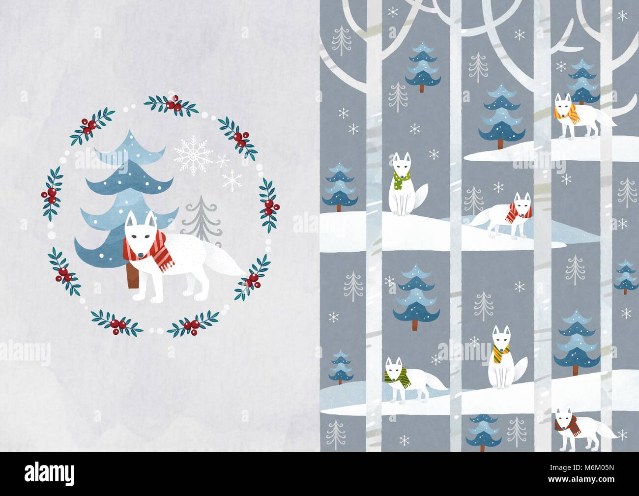 Vector pattern design related of winter season - a lucky bag, magpie, Christmas object and so on. 007 - Stock Image