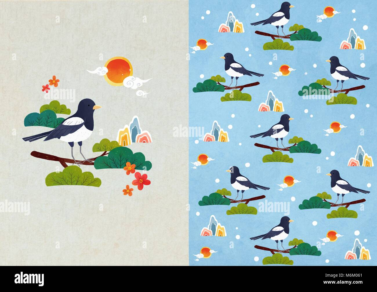Vector pattern design related of winter season - a lucky bag, magpie, Christmas object and so on. 008 - Stock Image