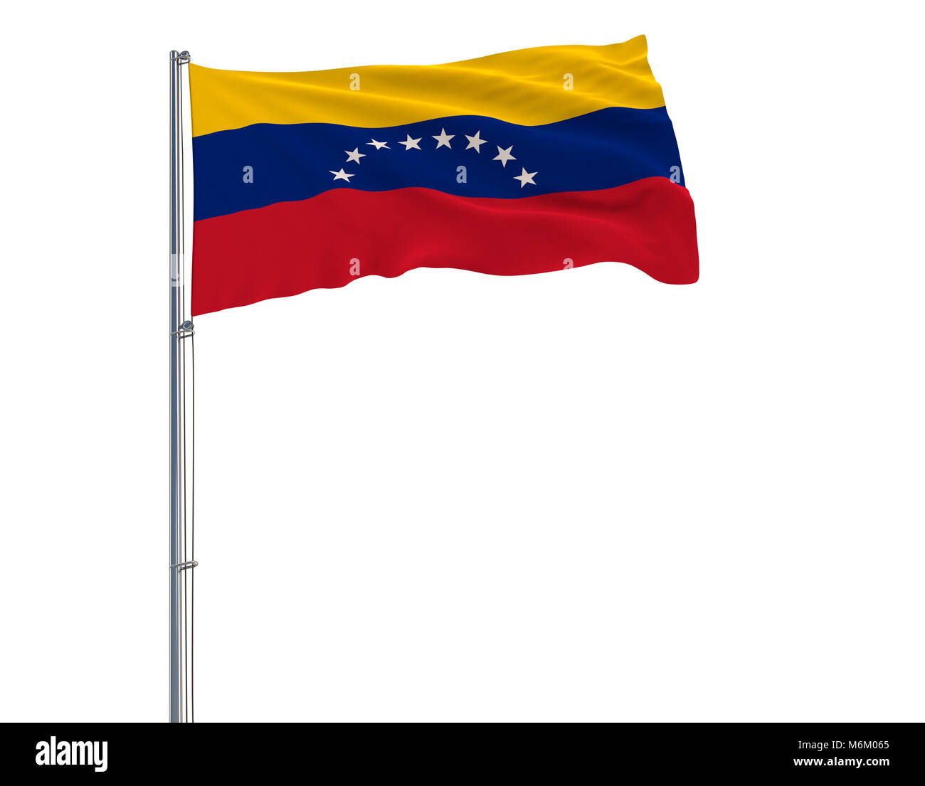 Flag of Venezuela on the flagpole fluttering in the wind on white background, 3d rendering - Stock Image