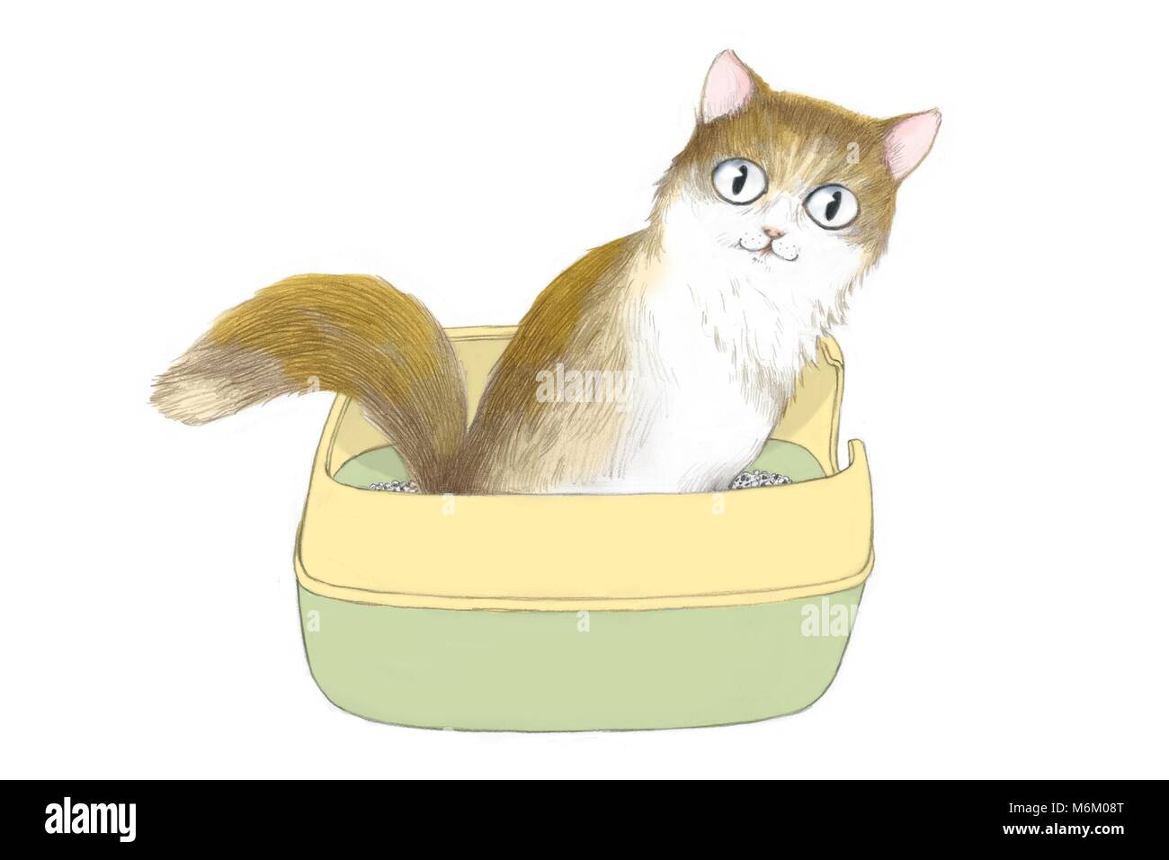 Illustration - lovely and cute cat's daily life 003 - Stock Image