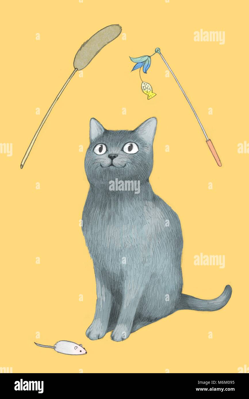 Illustration - lovely and cute cat's daily life 005 - Stock Image