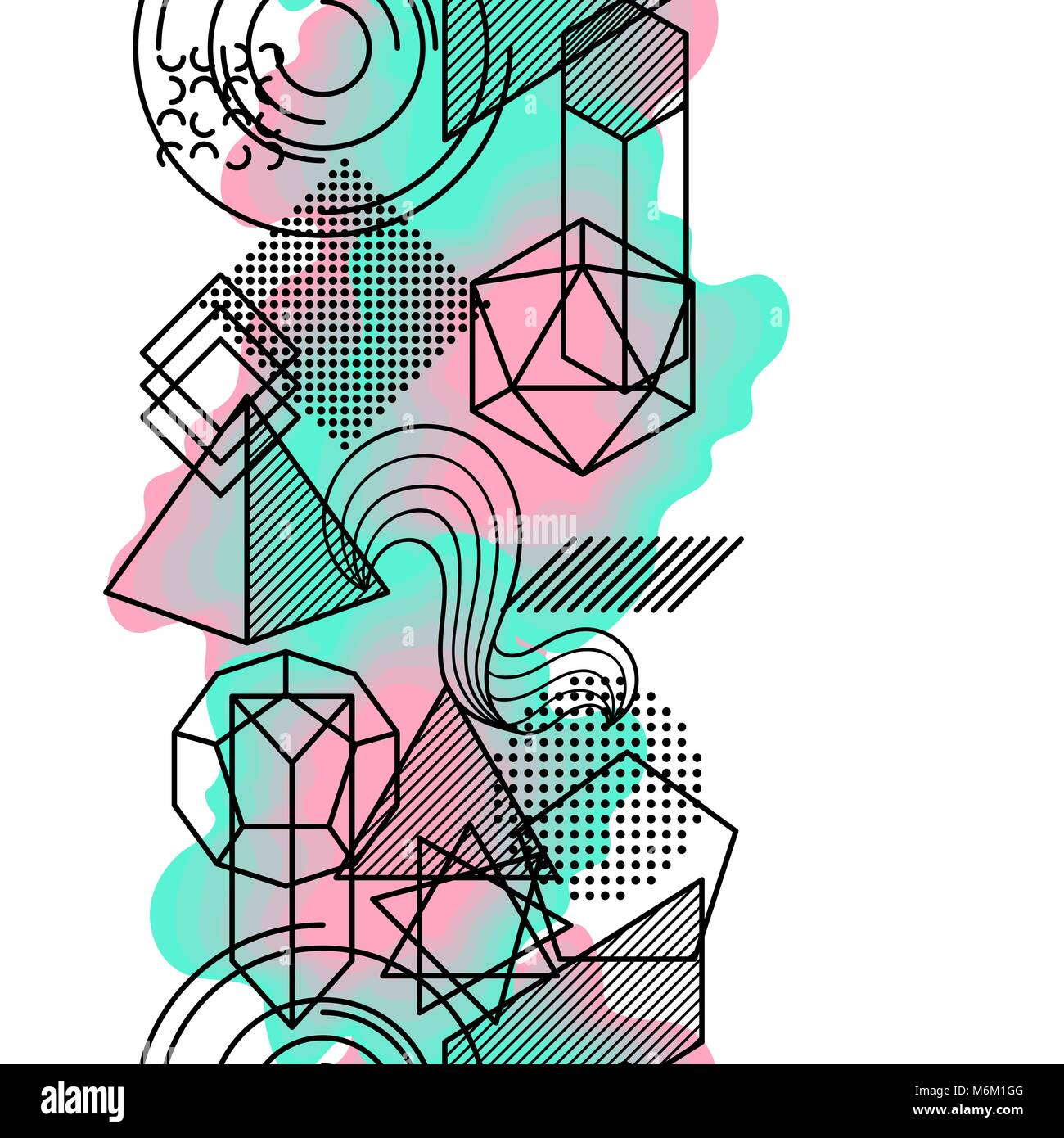 Seamless Pattern With Abstract Geometric Shapes Line Art