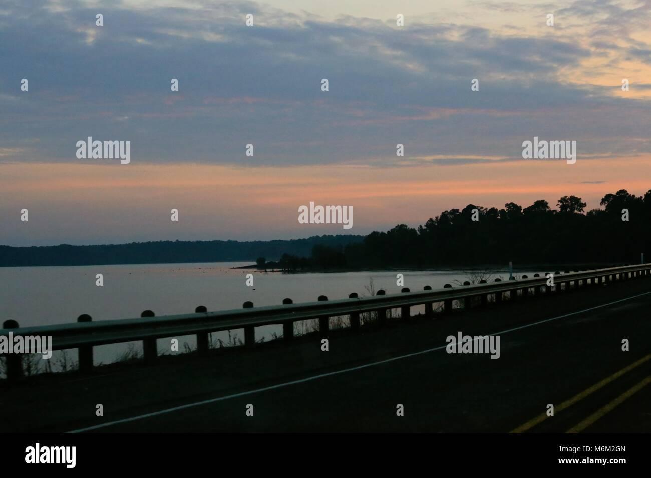 Sunset Sky over the Toledo Bend Reservoir - Stock Image
