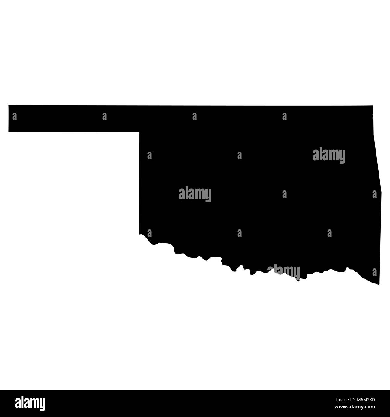 map of the U.S. state of Oklahoma  - Stock Vector