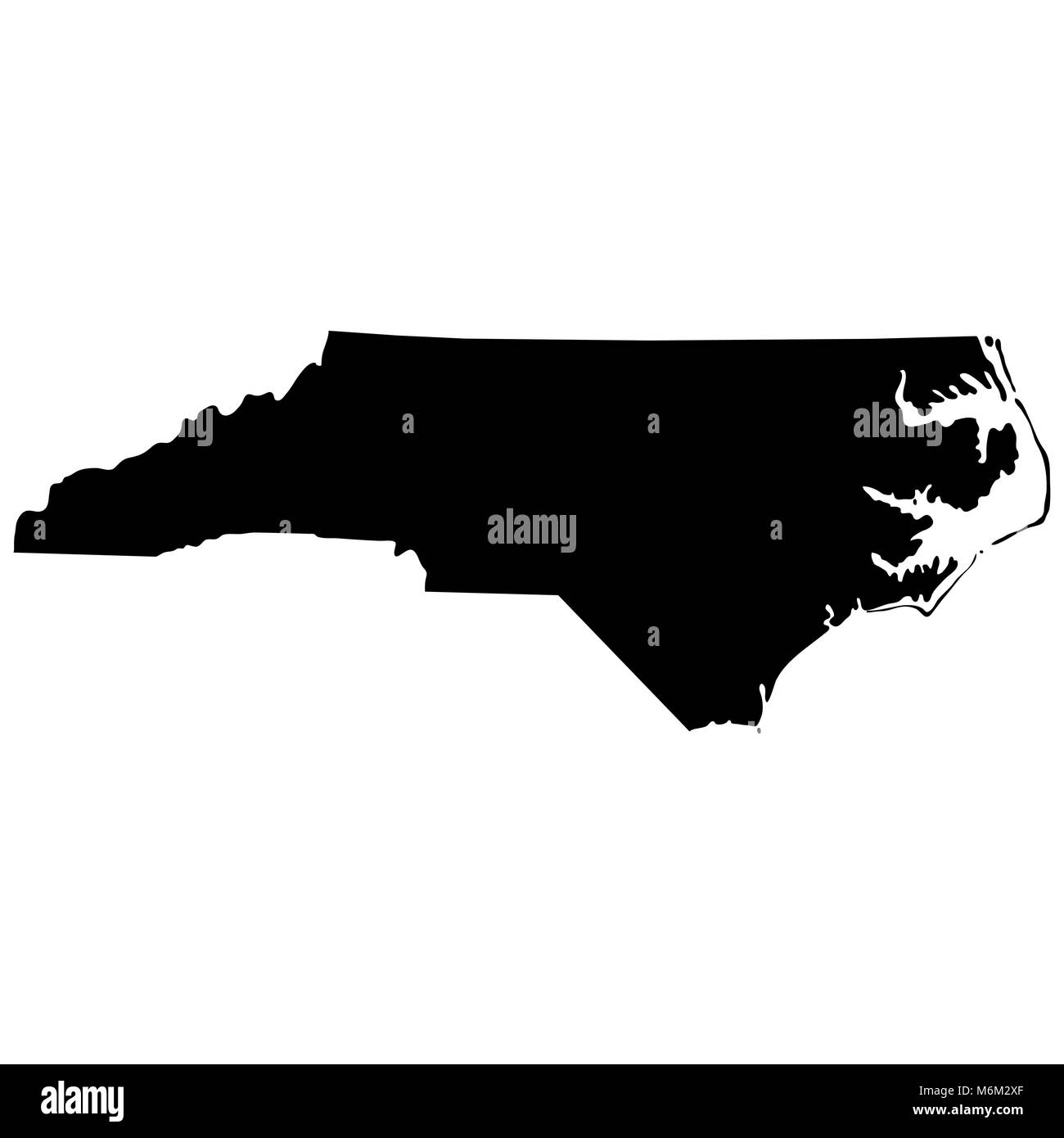 map of the U.S. state of North Carolina  - Stock Vector
