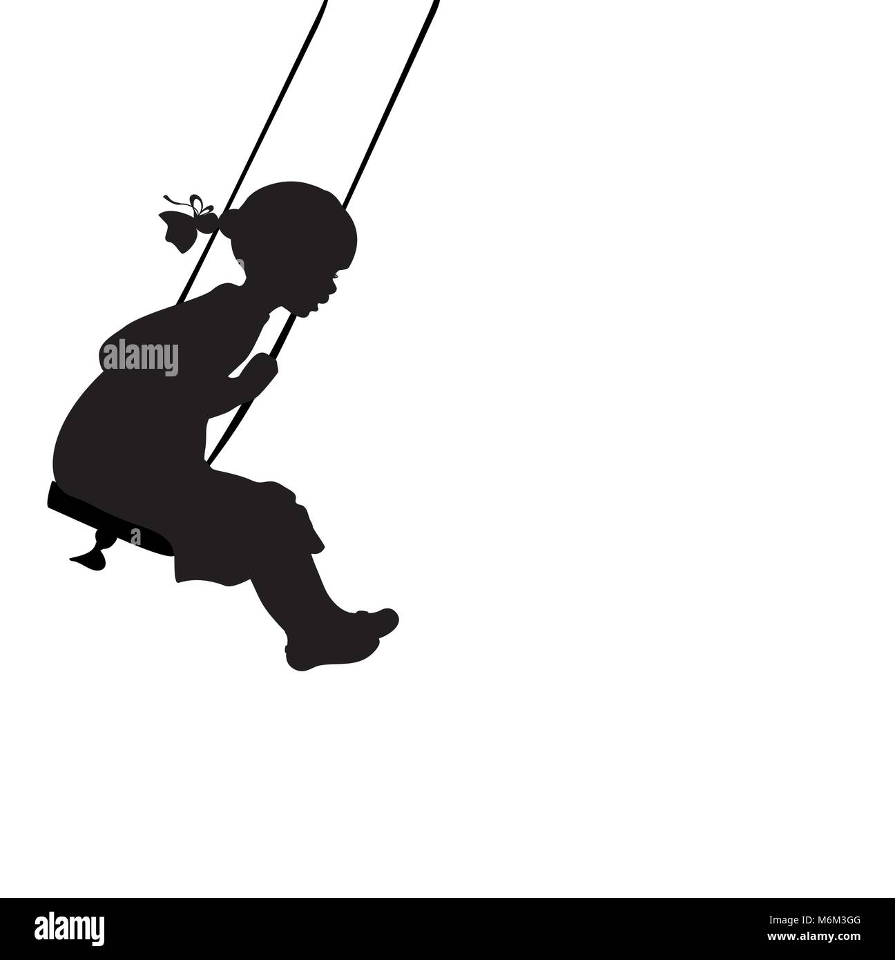 Silhouette girl play swinging swing. Vector illustration - Stock Vector