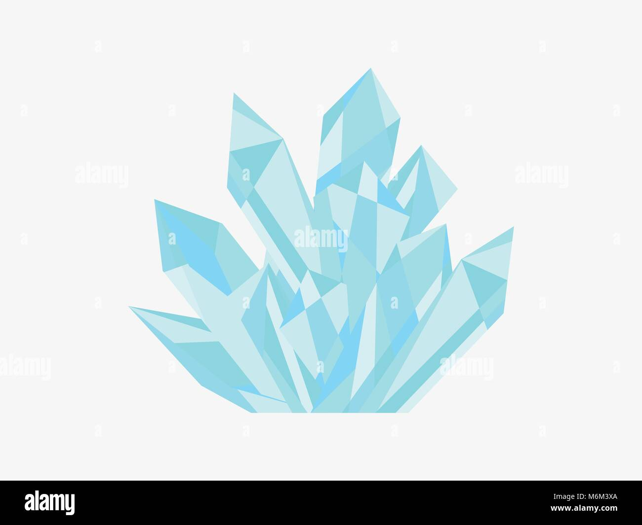 Crystal isolated on white background. Minerals, design elements. A precious stone, polygons. Vector illustration - Stock Image
