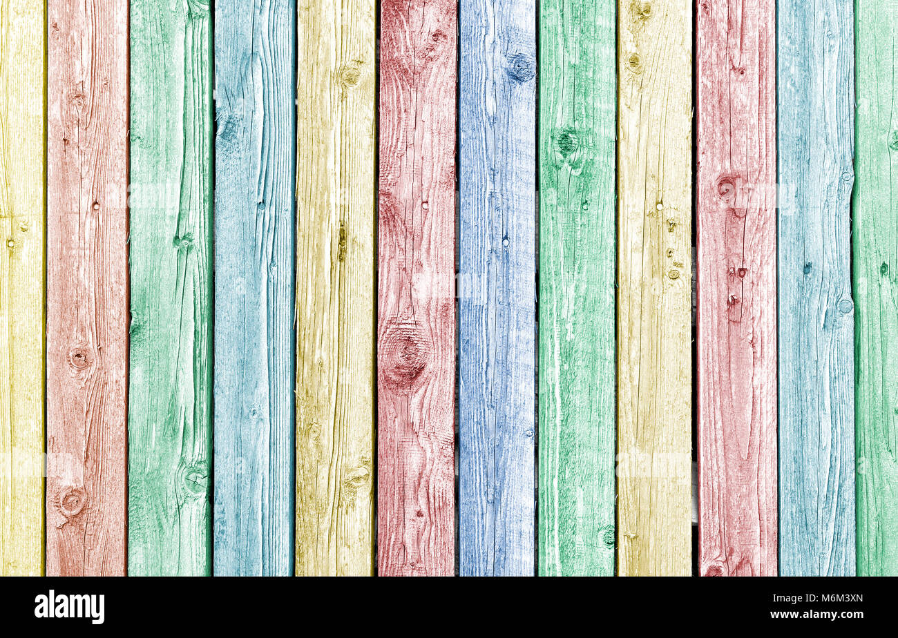 Pastel painted old weathered wood planks, natural wood background - Stock Image