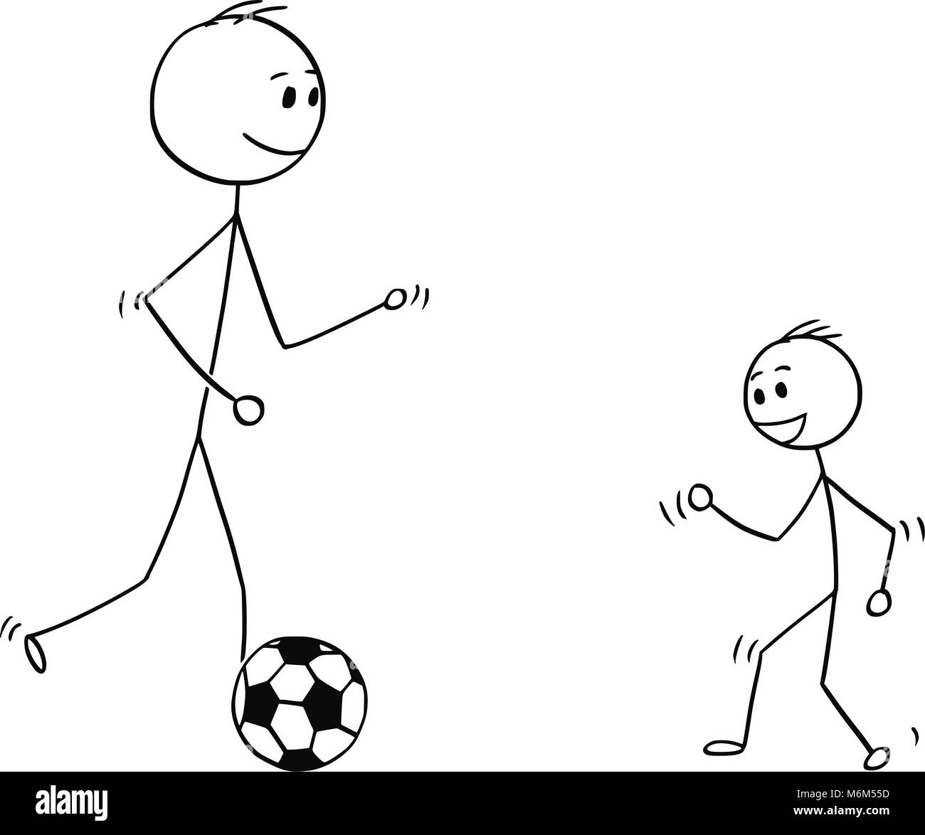 Cartoon of Father Playing with Soccer or Football Ball with Son - Stock Image