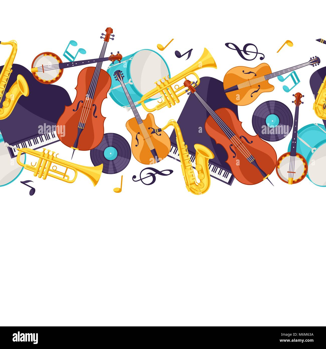 Jazz music seamless pattern with musical instruments - Stock Image