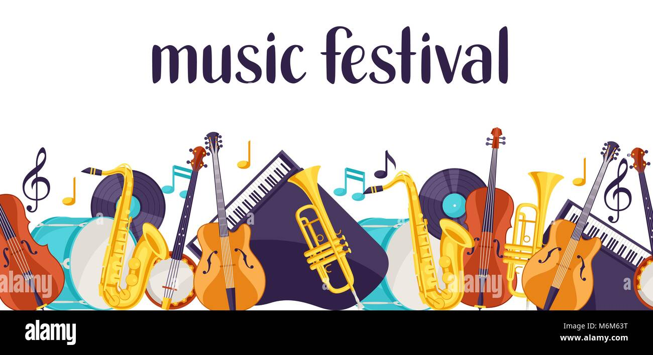 Jazz music festival banner with musical instruments - Stock Image