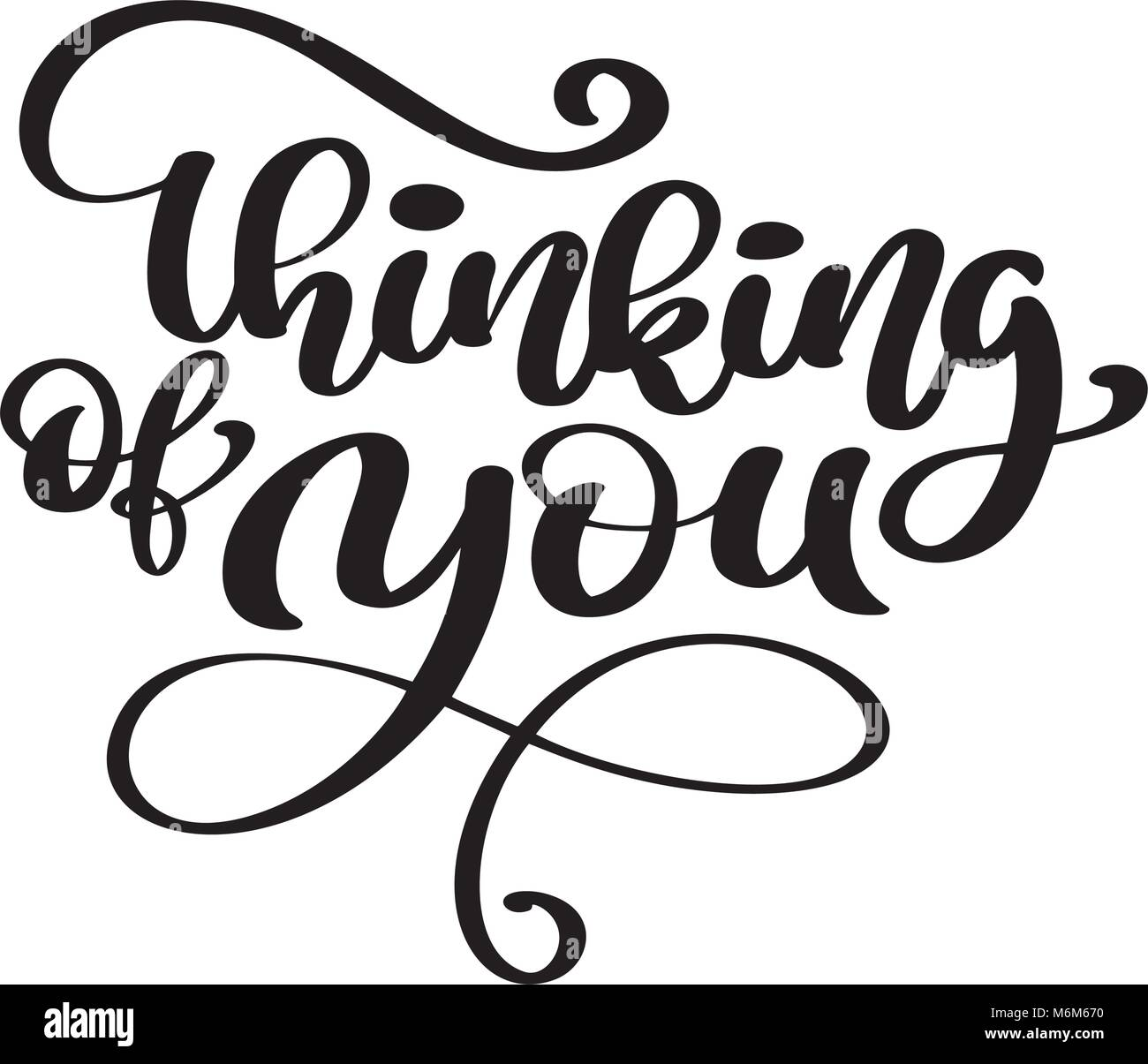 Vector Calligraphy Thinking Of You Hand Drawn Text Phrase Poster Or