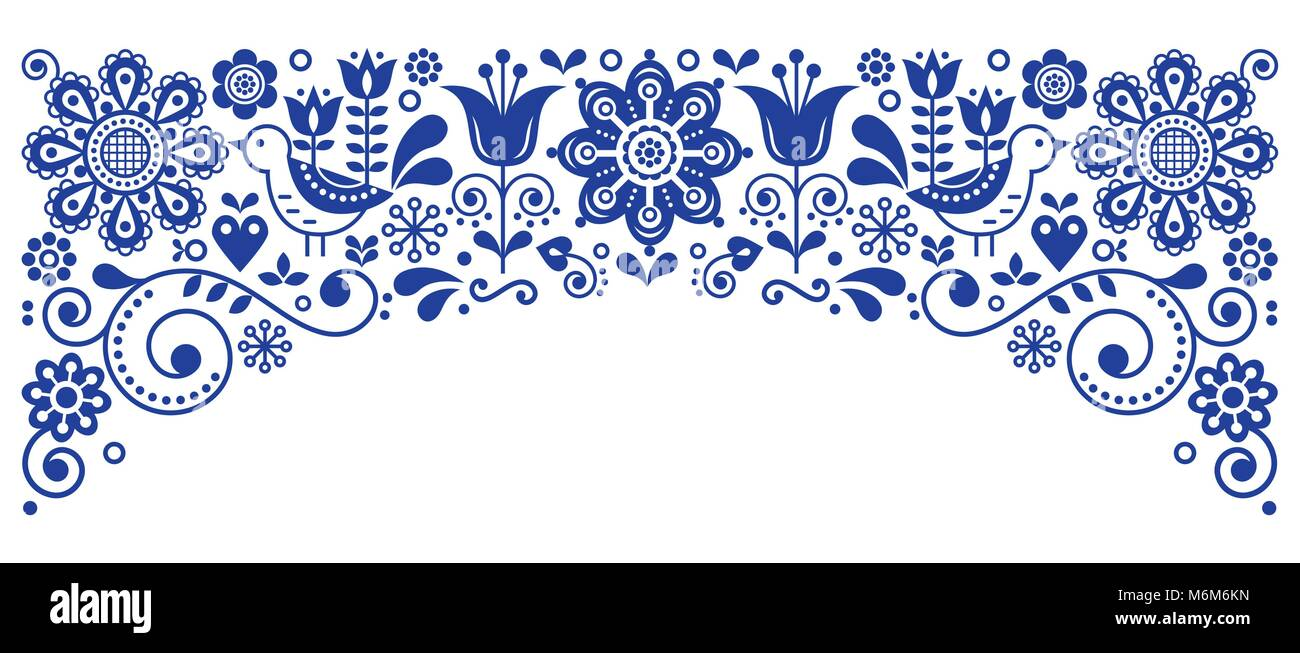 Scandinavian folk art frame border retro vector greeting card design scandinavian folk art frame border retro vector greeting card design floral navy blue ornament with birs and flowers m4hsunfo