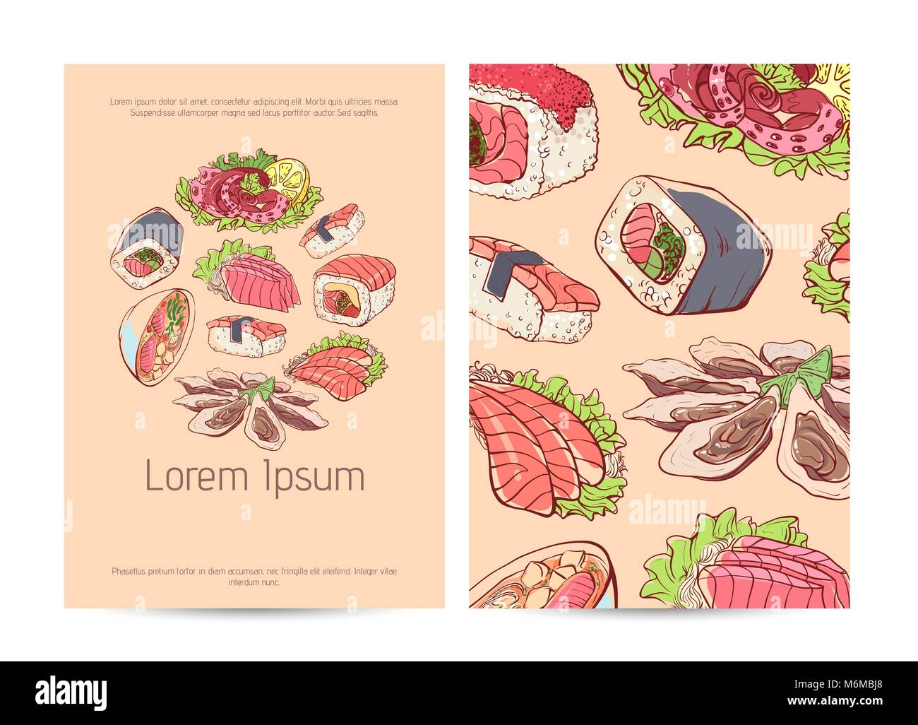 Japanese Restaurant Menu Cover With Famous Dishes Stock Vector Image Art Alamy