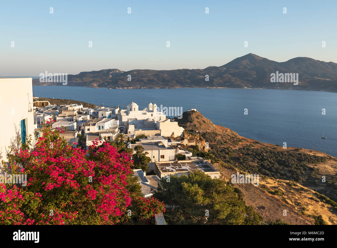 View over town of Plaka and Milos Bay, Plaka, Milos, Cyclades, Aegean Sea, Greek Islands; Greece; Europe - Stock Image