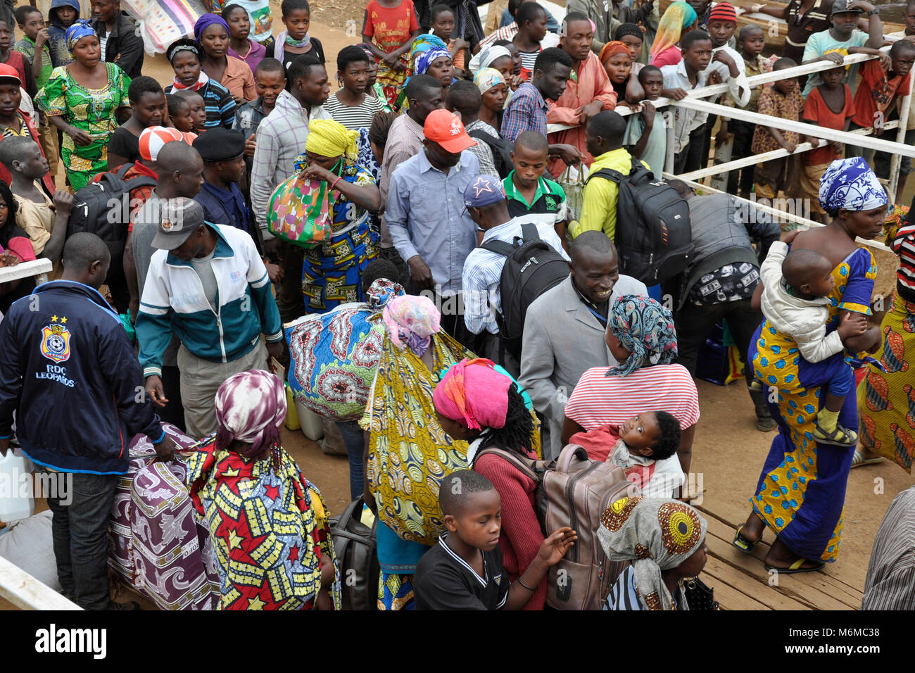 Democratic Republic of Congo, People boarding from Goma - Stock Image