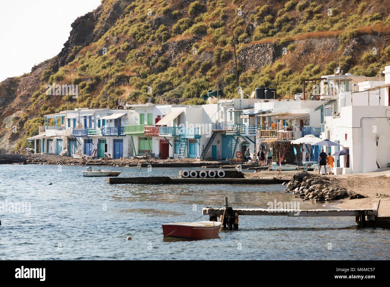 Colourful fishermen's boat houses, Klima, Milos, Cyclades, Aegean Sea, Greek Islands; Greece; Europe - Stock Image