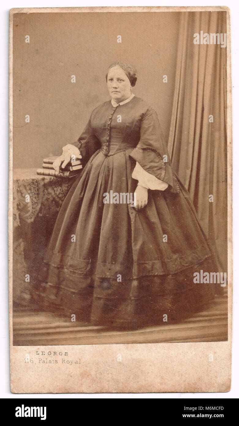 Old Photographic Print dating XIXth century, France - Stock Image