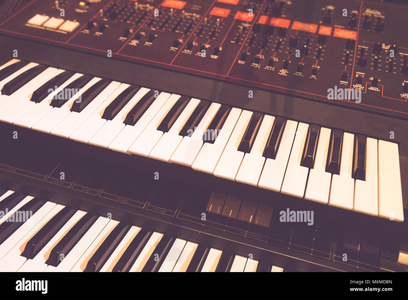 Keys of a digital piano used for a live concert - Stock Image