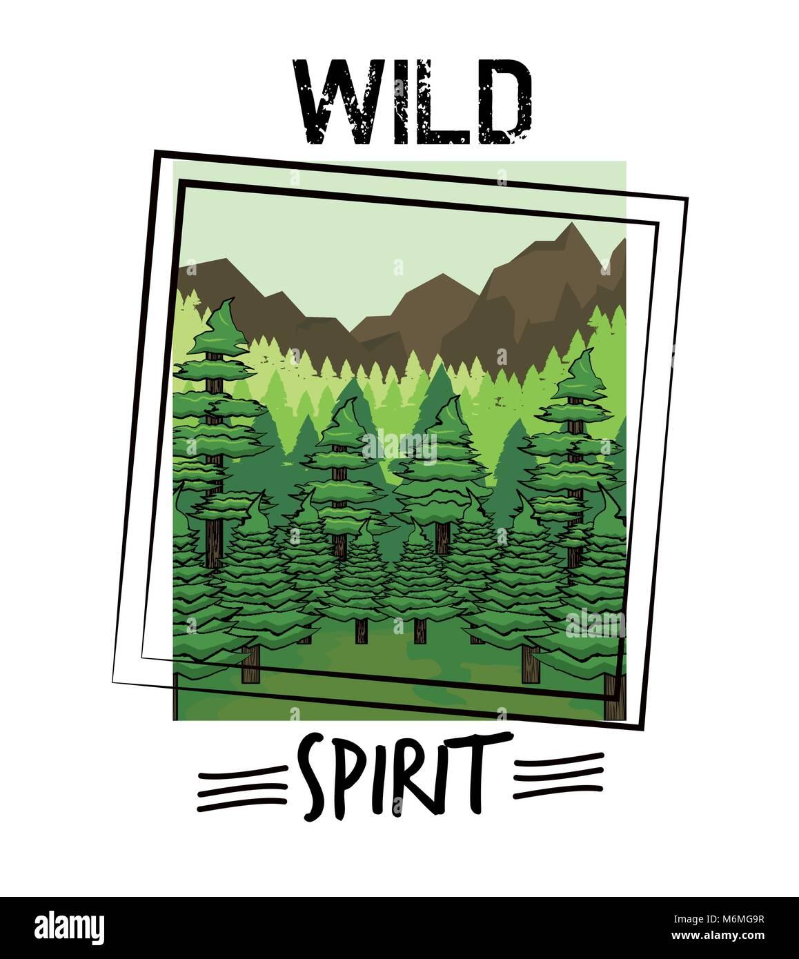 Wild nature spirit print for t shirt - Stock Image