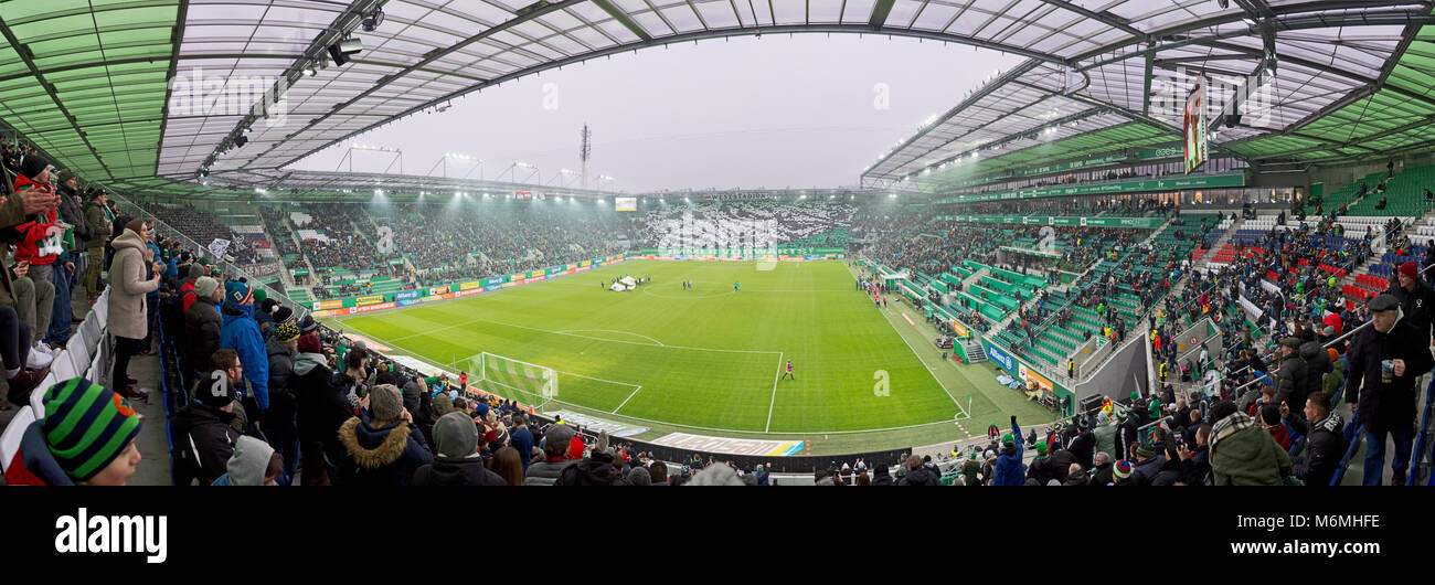 Panoramic view of Allianz Stadium in Vienna before the football match Rapid Wien vs Sturm Graz with choreography - Stock Image
