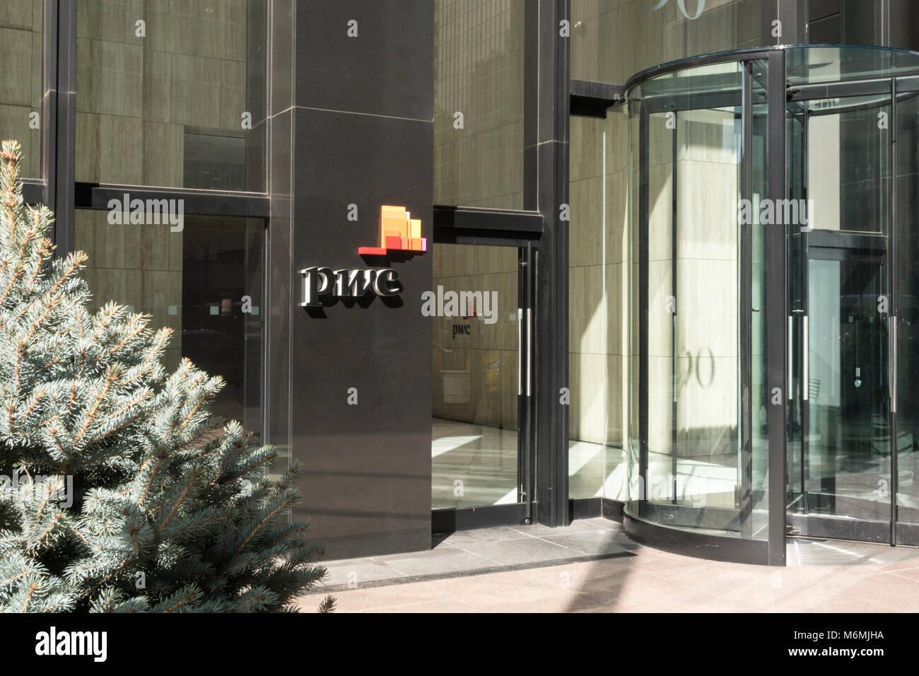 PWC Logo at Building Entrance, NYC, USA - Stock Image