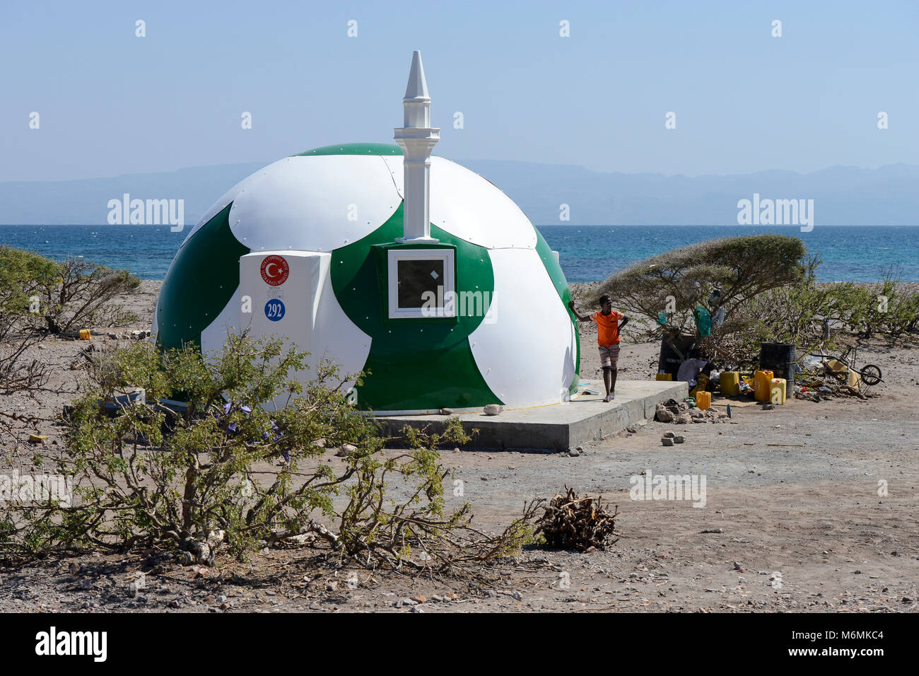 DJIBOUTI , Tadjoura, Turkey financed mosque in football design, NEVKA composite house, yeter and halil mosque  / - Stock Image