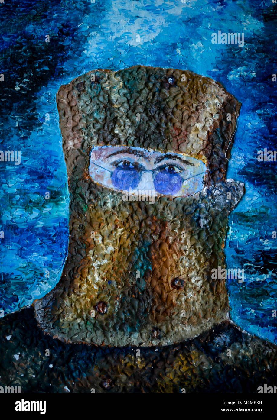 Portrait of Ned Kelly Lennon style - Stock Image