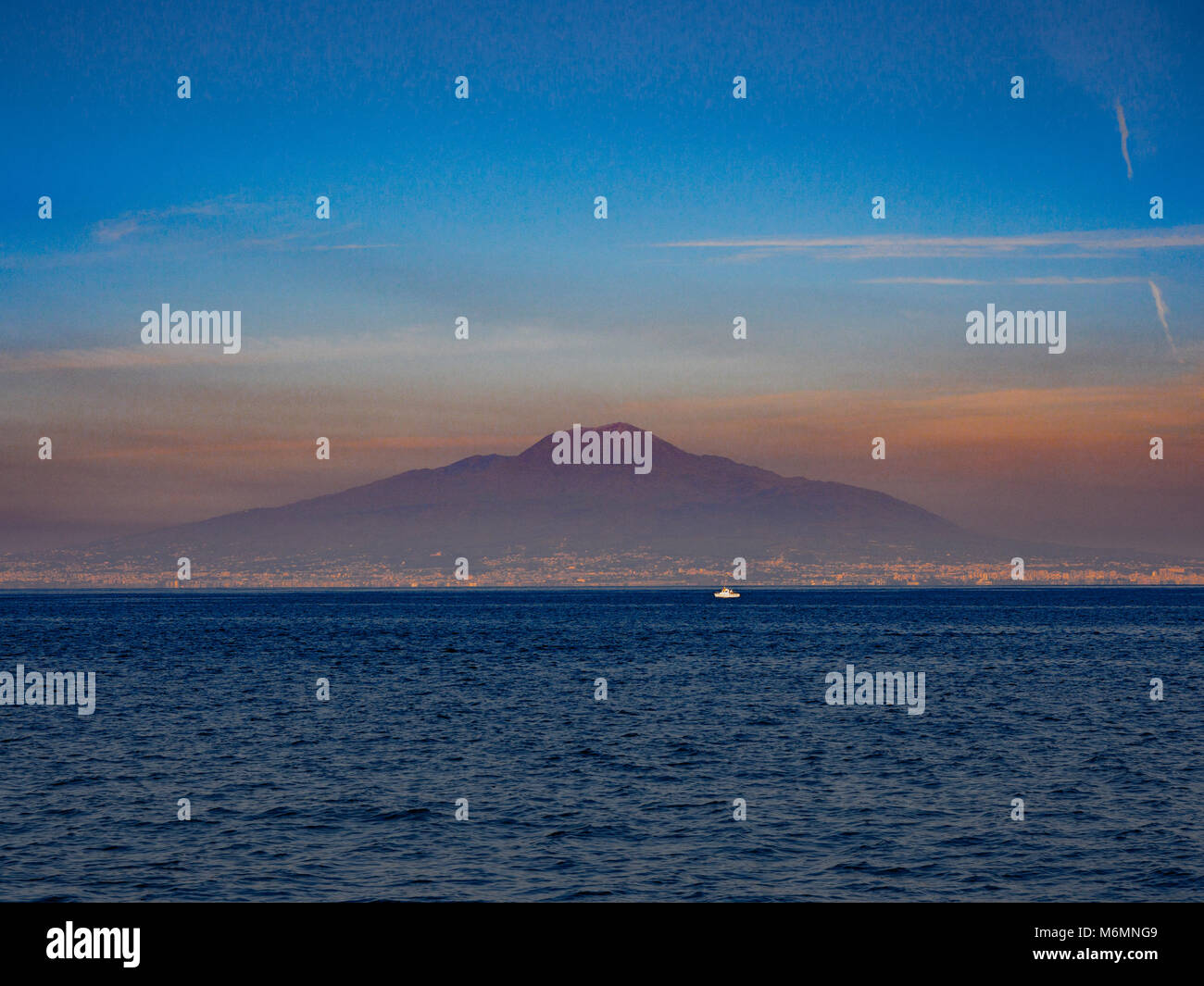 Vesuvius from the Bay of Naples, Italy. - Stock Image