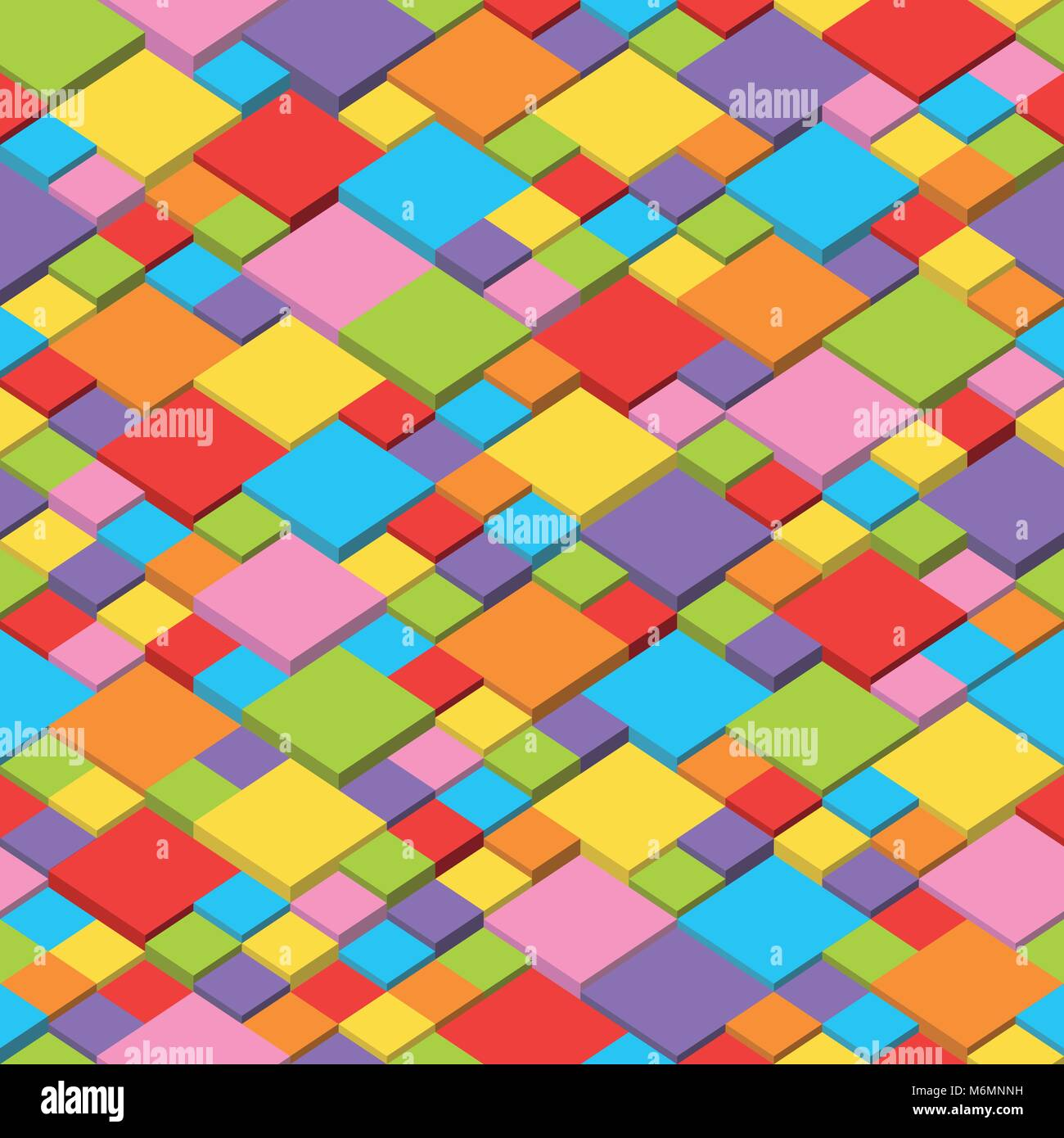Abstract vector background of multi-colored cubes, seamless and repeatable pattern - Stock Vector