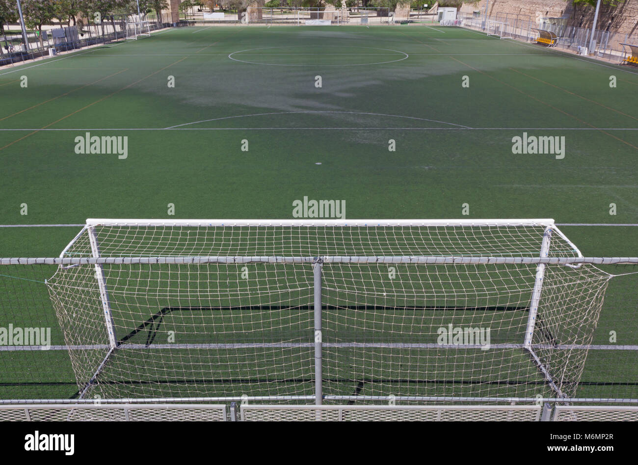 grass soccer field with goal. Plain Goal View Of A Synthetic Grass Soccer Field From Behind Goal In Grass Soccer Field With Goal S