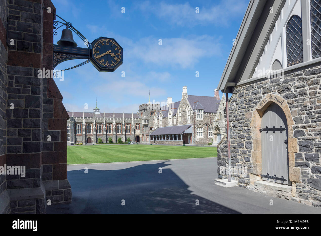 Historic buildings around Quadrangle, Christ's College, Rolleston Ave, Christchurch, Canterbury, South Island, - Stock Image