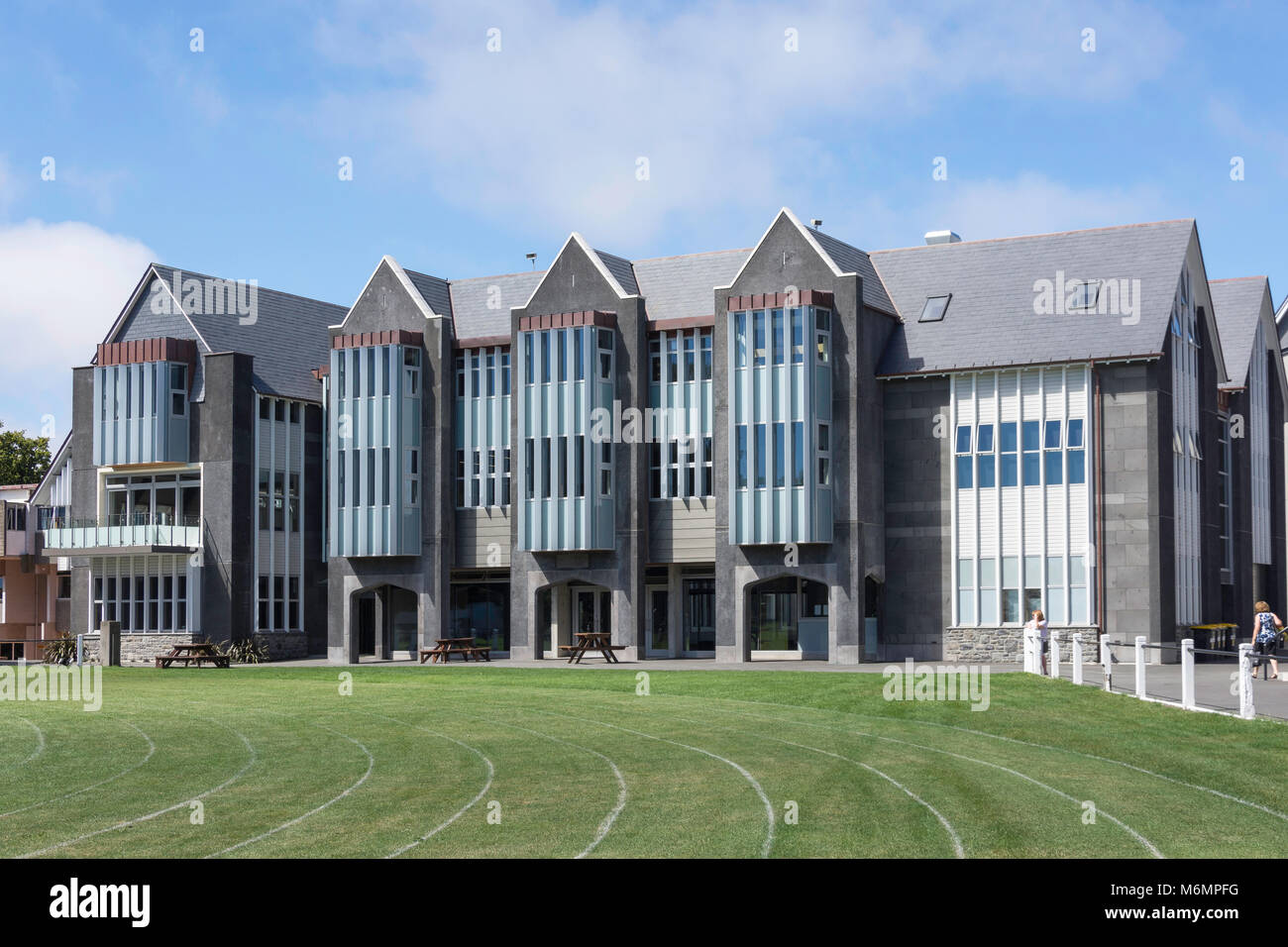 New science block from sports field, Christ's College, Rolleston Ave, Christchurch, Canterbury, South Island, - Stock Image