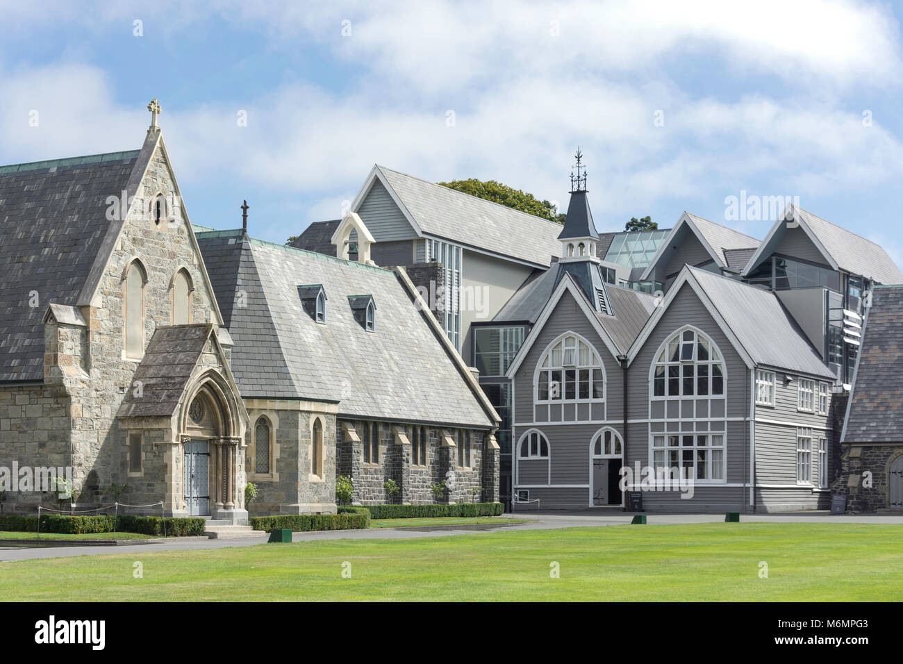 Historic buildings around quadrangle, Christ's College, Rolleston Avenue, Christchurch, Canterbury, New Zealand - Stock Image