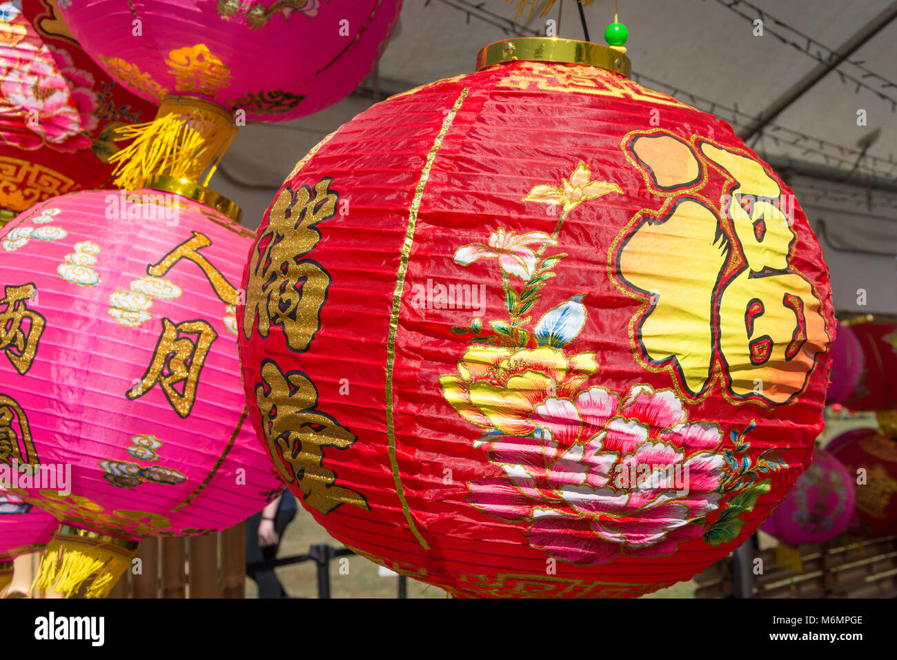 Chinese lanterns at 'Noodle night markets' event in North Hagley Park, Christchurch, Canterbury, New Zealand - Stock Image
