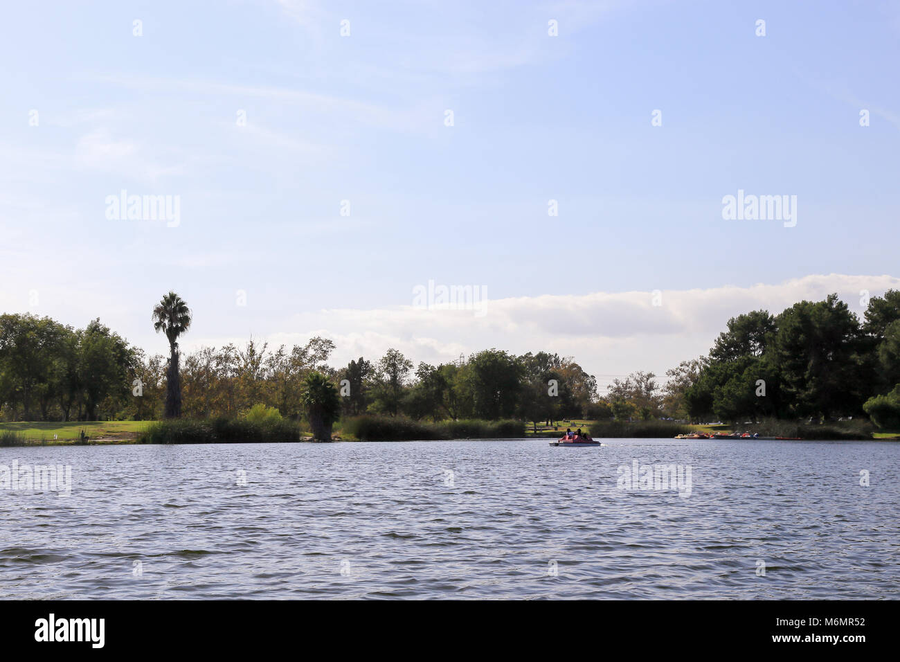 Pedal boating in a lake at El Dorado East Regional Park, Long Beach California on a sunny afternoon, Stock Photo