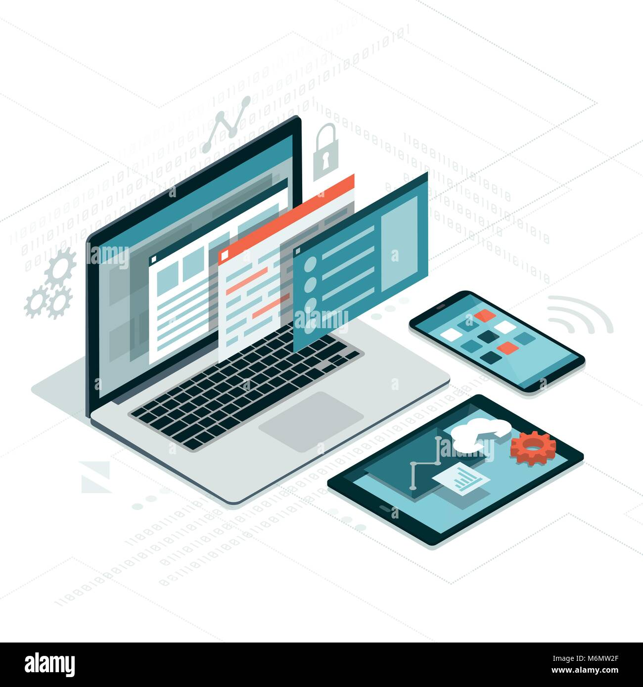 Web anf software development, coding and communication: visual interface on laptop, tablet and smartphone - Stock Image