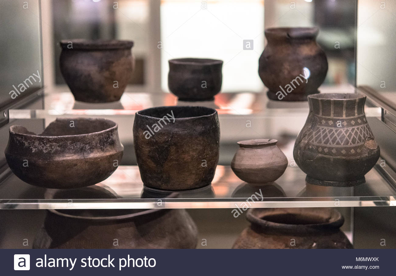 The Viking's objects: diverse pots or vases. The Vikings were Norse people who raided and traded across wide - Stock Image