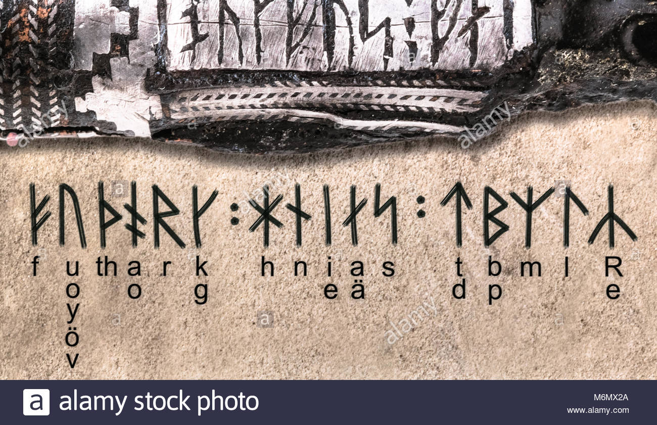 The Viking alphabet explained or translated.The Vikings were Norse people who raided and traded across wide areas - Stock Image