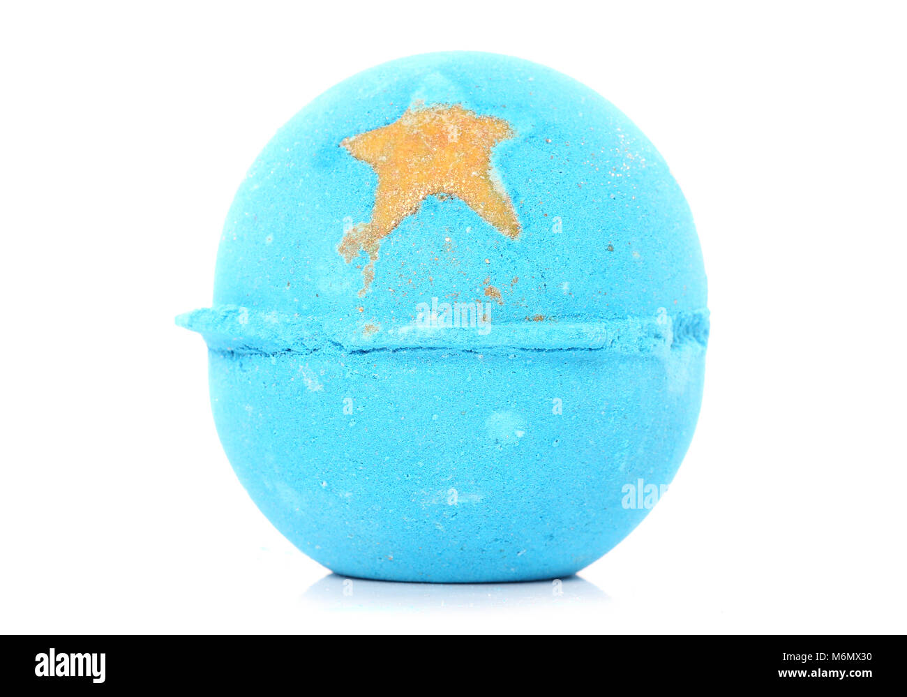blue bath bomb with star cutout - Stock Image