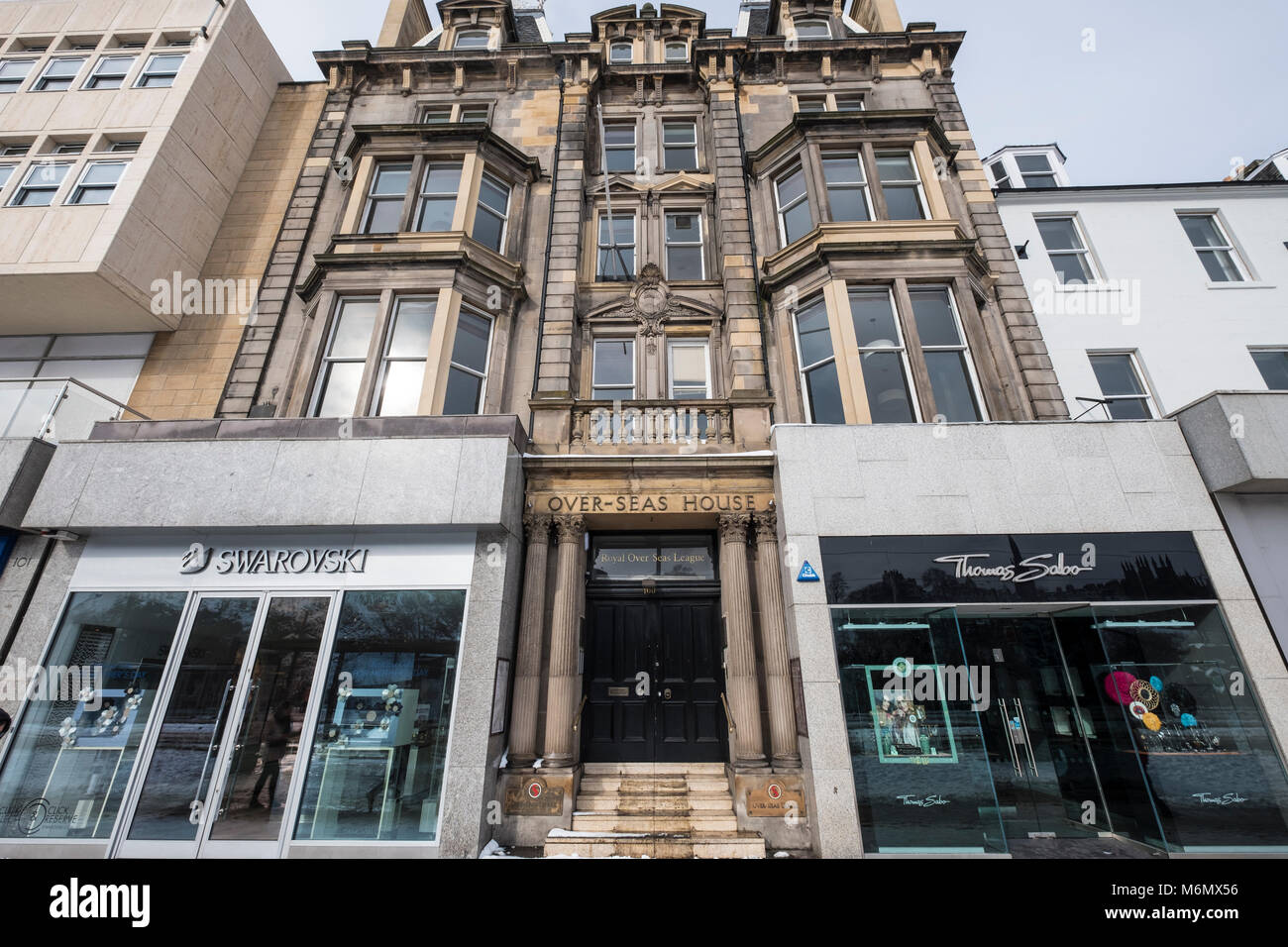 Over-Seas House entrance to  Royal Over-SeasLeague organisation  on Princes Street , Edinburgh, Scotland, United - Stock Image