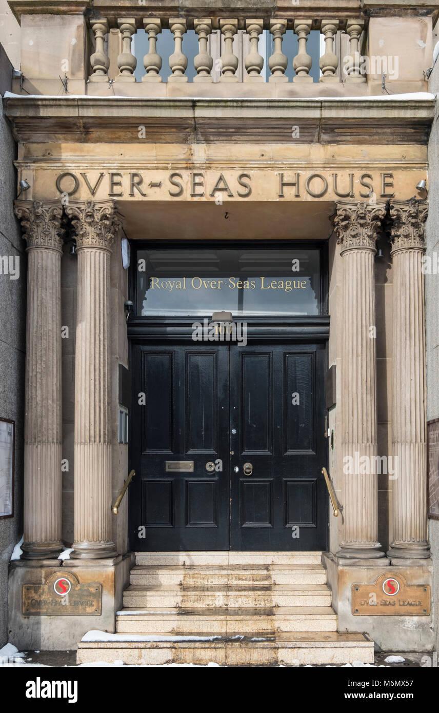 Over-Seas House entrance to  Royal Over-SeasLeague organisation  on Princes Street , Edinburgh, Scotland, United - Stock Image